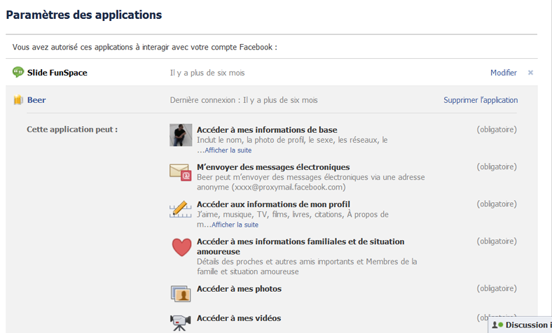 paramétre d'application